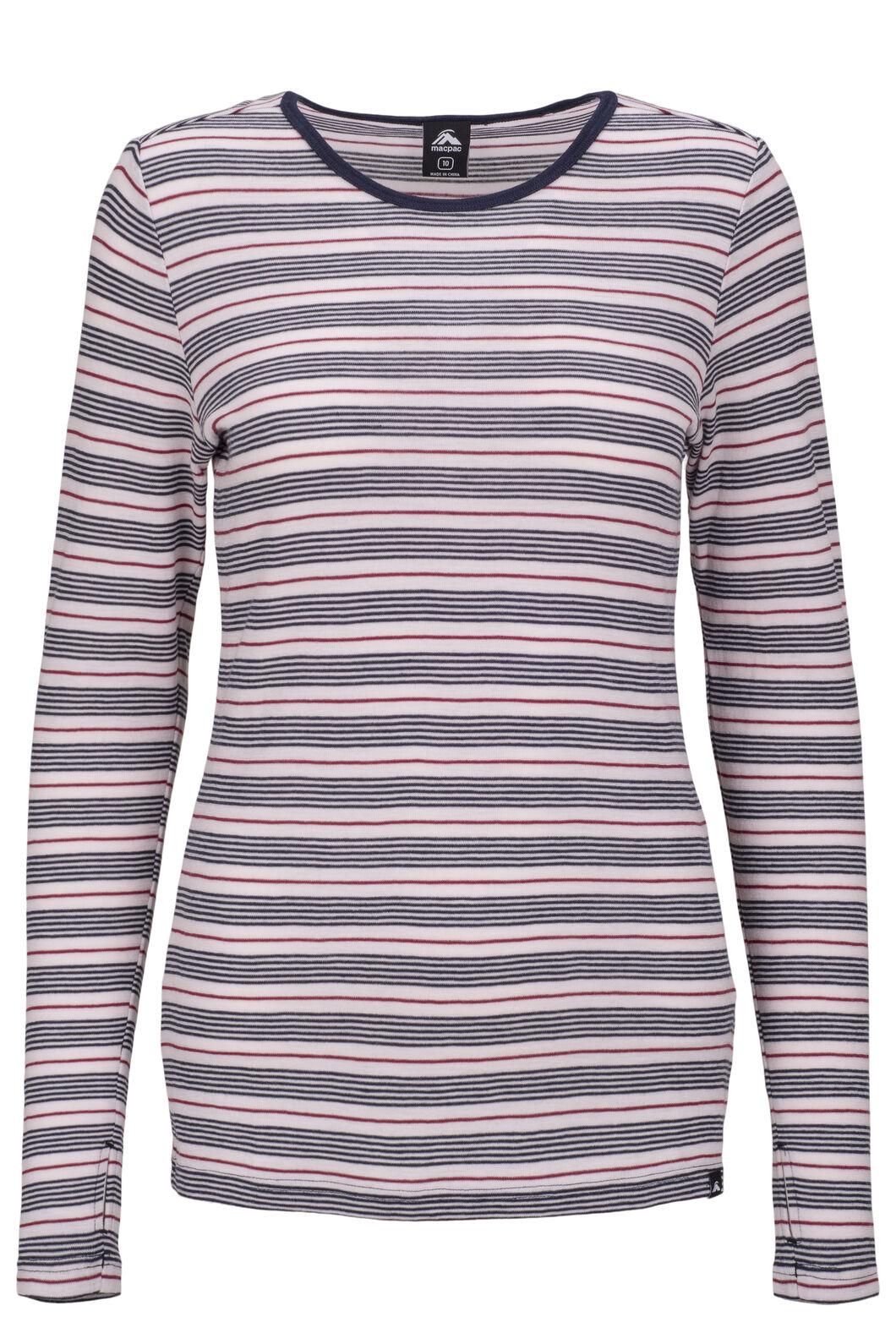 Macpac Women's 220 Merino Long Sleeve Top, Cradle Pink Stripe, hi-res