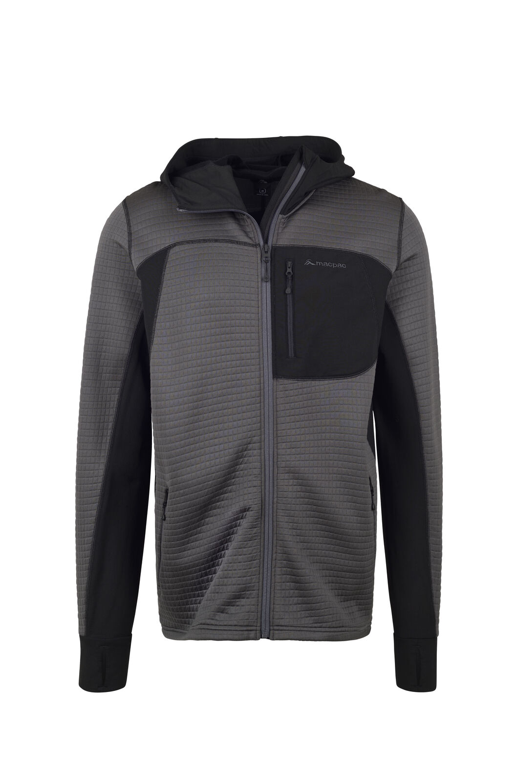 Macpac Triton Merino Blend Hooded Jacket — Men's, Asphalt/Black, hi-res