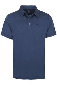 Macpac Merino Blend Short Sleeve Polo - Men's, Black Iris, hi-res