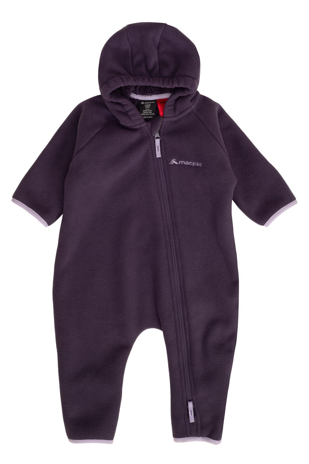 Macpac Acorn Fleece Onesie — Baby, Nightshade, hi-res