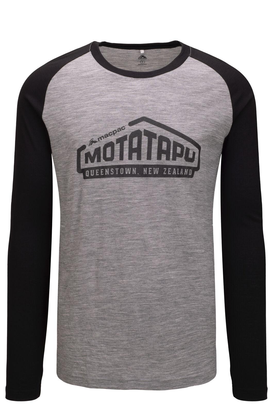 Macpac Men's Motatapu 180 Merino Long Sleeve Tee, Black/ Mid Grey Marle, hi-res