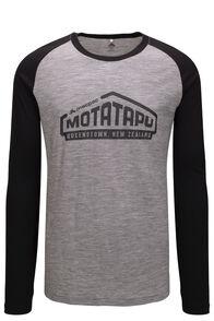 Macpac Motatapu 180 Merino Long Sleeve Tee — Men's, Black/ Mid Grey Marle, hi-res
