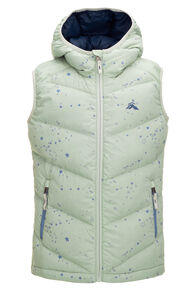 Macpac Kids' Stargazer Hooded Down Vest, Frosty Green Print, hi-res