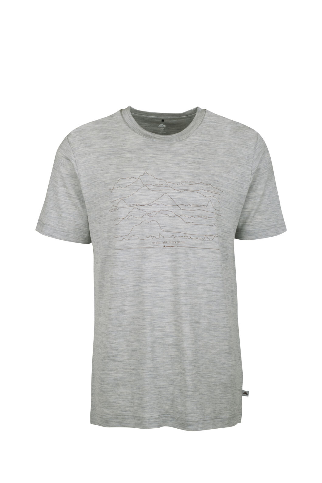 Macpac Great Walks Merino Tee - Men's, Light Grey Marle, hi-res