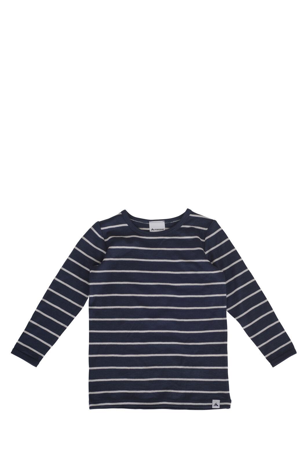Macpac 150 Merino Long Sleeve Top - Baby, Navy Stripe, hi-res