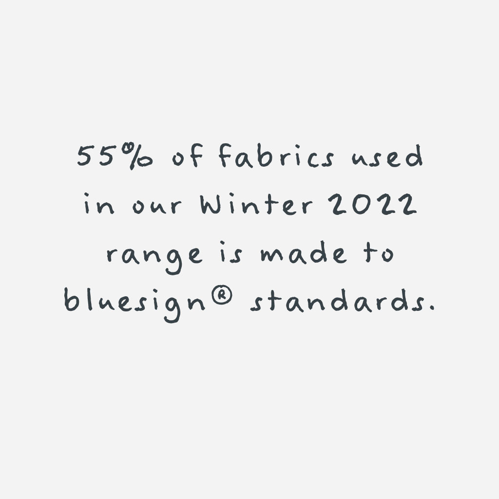 Bluesign Fabric - 49% of fabrics used in our summer 2020 range is made to bluesign standards