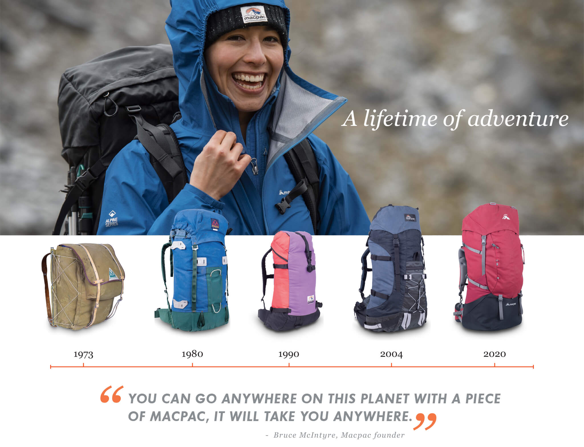 A lifetime of adventure with Quote: My goal was to make the best backpacks for New Zealand's Mountains - Bruce McIntyre, Macpac founder